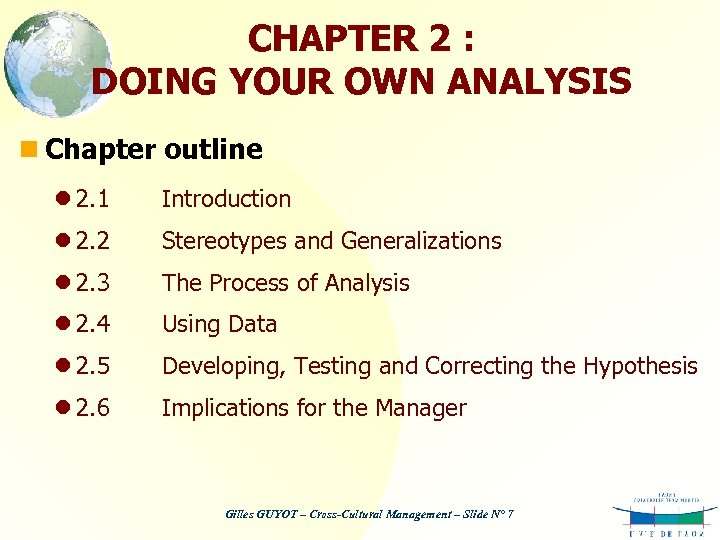 CHAPTER 2 : DOING YOUR OWN ANALYSIS n Chapter outline l 2. 1 Introduction