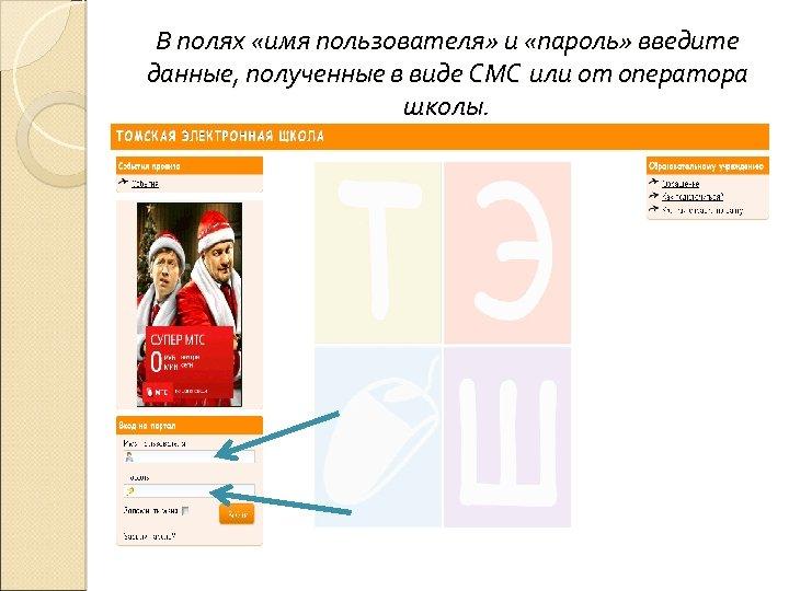 В полях «имя пользователя» и «пароль» введите данные, полученные в виде СМС или от