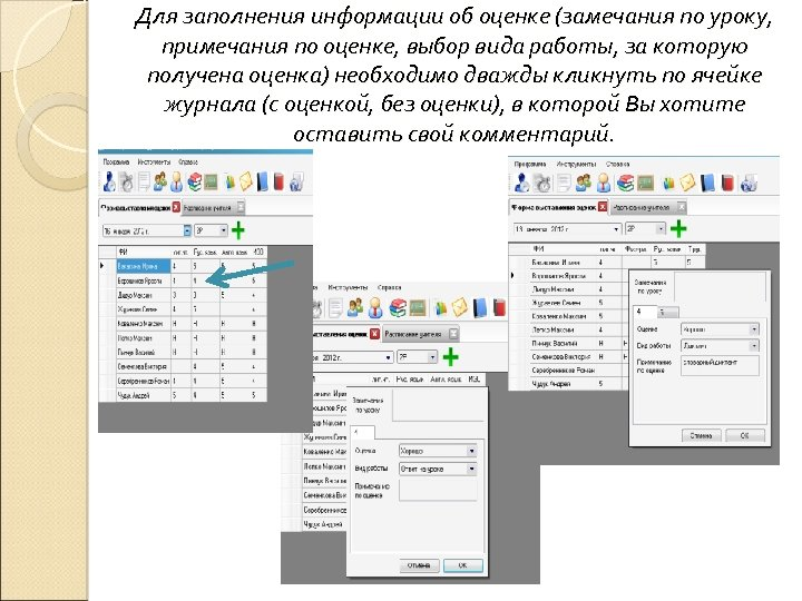 Для заполнения информации об оценке (замечания по уроку, примечания по оценке, выбор вида работы,