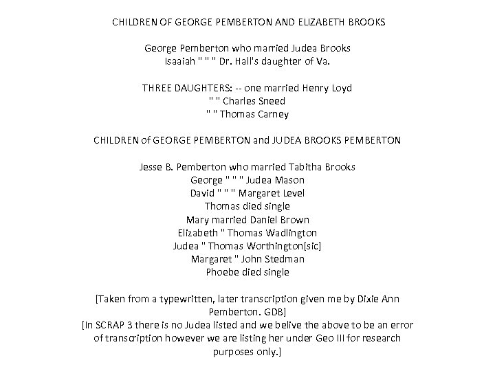 CHILDREN OF GEORGE PEMBERTON AND ELIZABETH BROOKS George Pemberton who married Judea Brooks