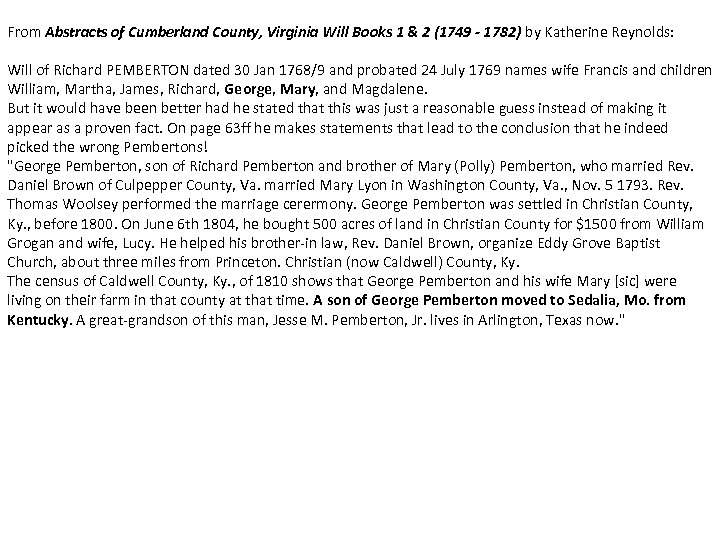 From Abstracts of Cumberland County, Virginia Will Books 1 & 2 (1749 - 1782)