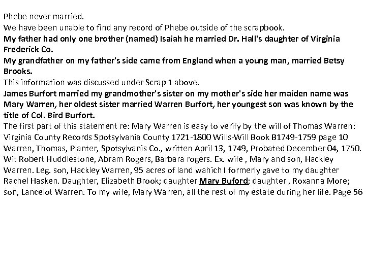 Phebe never married. We have been unable to find any record of Phebe outside
