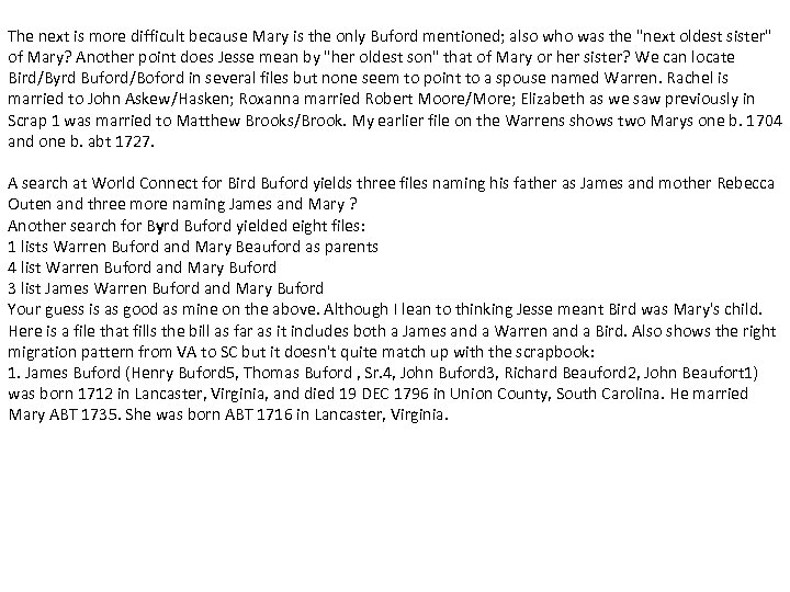 The next is more difficult because Mary is the only Buford mentioned; also who