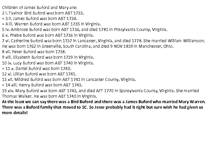 Children of James Buford and Mary are: 2 i. Tavinor Bird Buford was born