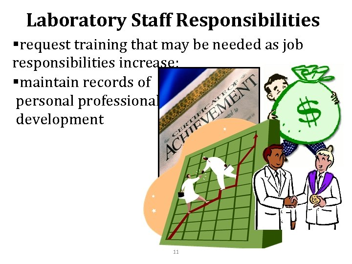 Laboratory Staff Responsibilities §request training that may be needed as job responsibilities increase; §maintain