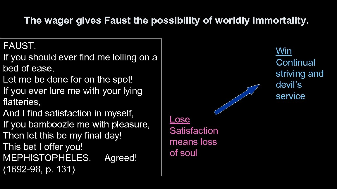 The wager gives Faust the possibility of worldly immortality. FAUST. If you should ever