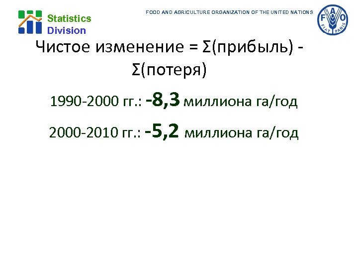Statistics Division FOOD AND AGRICULTURE ORGANIZATION OF THE UNITED NATIONS Чистое изменение = Σ(прибыль)