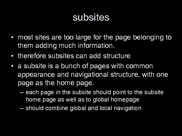subsites • most sites are too large for the page belonging to them adding