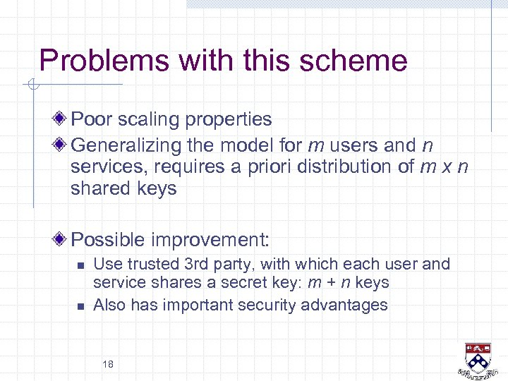 Problems with this scheme Poor scaling properties Generalizing the model for m users and