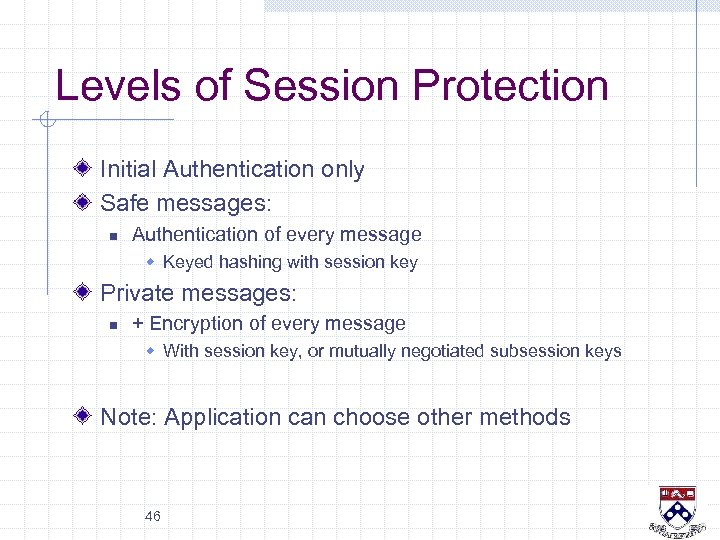 Levels of Session Protection Initial Authentication only Safe messages: n Authentication of every message
