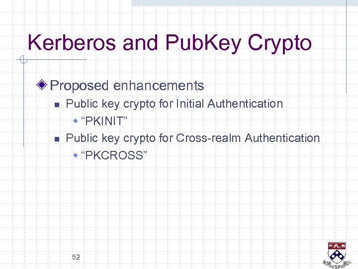Kerberos and Pub. Key Crypto Proposed enhancements n n Public key crypto for Initial