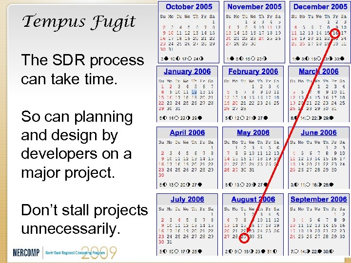 Tempus Fugit The SDR process can take time. So can planning and design by
