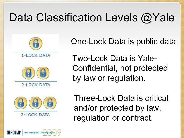 Data Classification Levels @Yale One-Lock Data is public data. Two-Lock Data is Yale. Confidential,