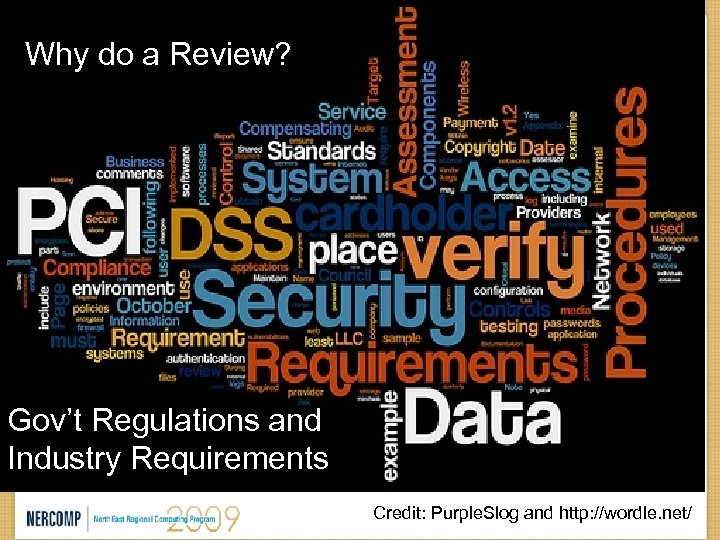 Why do a Review? Gov't Regulations and Industry Requirements Credit: Purple. Slog and http: