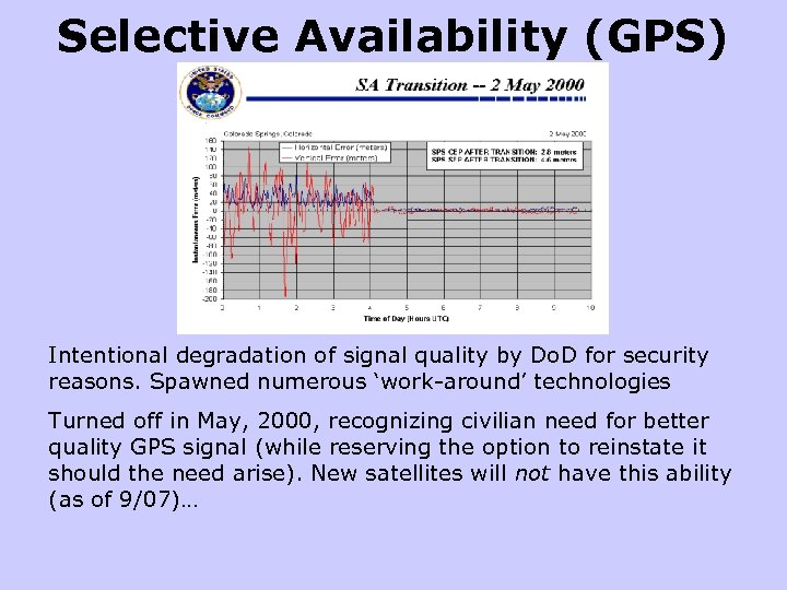 Selective Availability (GPS) Intentional degradation of signal quality by Do. D for security reasons.