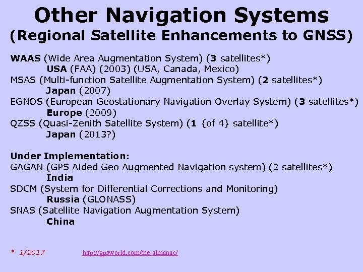 Other Navigation Systems (Regional Satellite Enhancements to GNSS) WAAS (Wide Area Augmentation System) (3