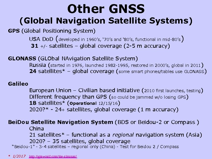 Other GNSS (Global Navigation Satellite Systems) GPS (Global Positioning System) USA Do. D (developed