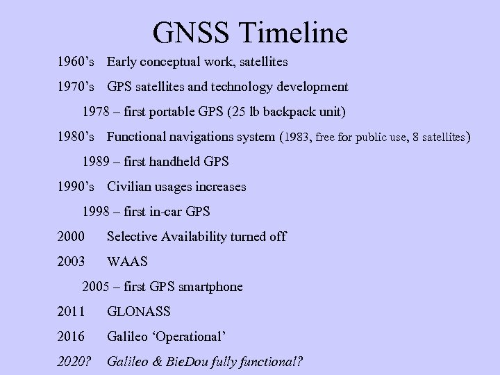 GNSS Timeline 1960's Early conceptual work, satellites 1970's GPS satellites and technology development 1978