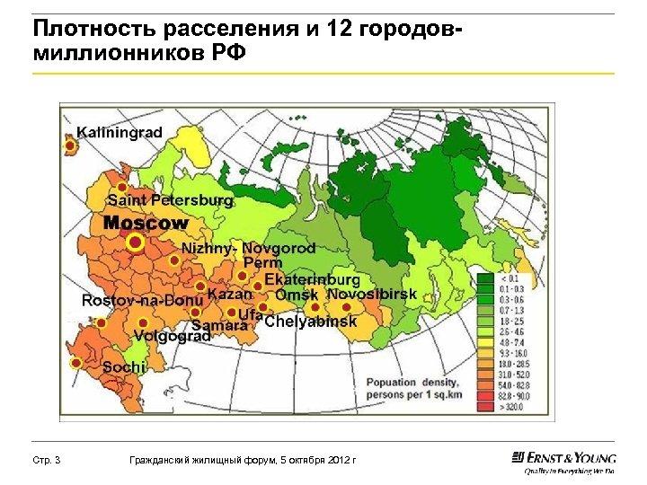 Плотность расселения и 12 городовмиллионников РФ Стр. 3 Гражданский жилищный форум, 5 октября 2012