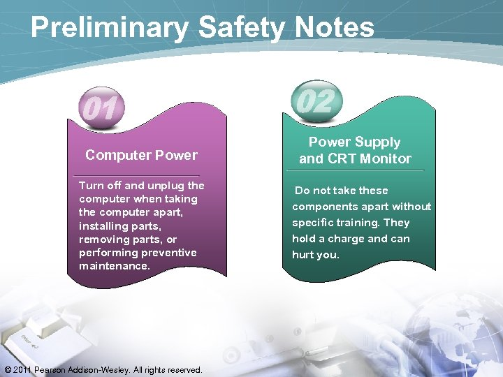 Preliminary Safety Notes Computer Power Turn off and unplug the computer when taking the