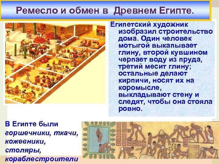 Ремесло и обмен в Древнем Египте. Египетский художник изобразил строительство дома. Один человек мотыгой