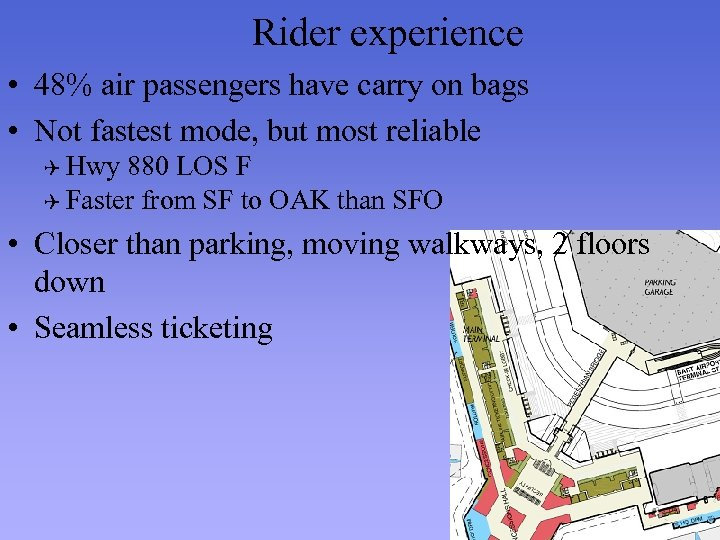 Rider experience • 48% air passengers have carry on bags • Not fastest mode,