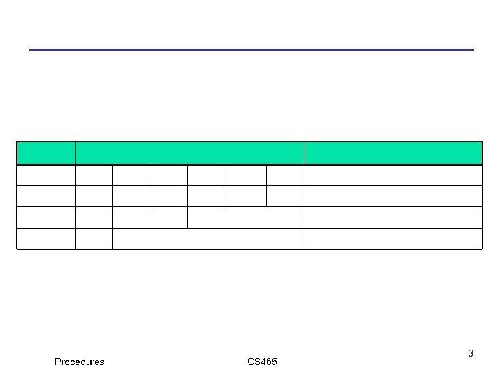 Procedures CS 465 3
