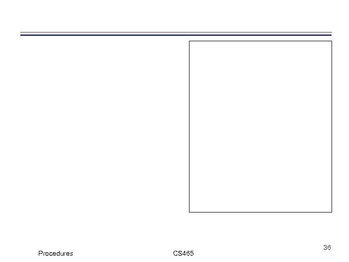 Procedures CS 465 36