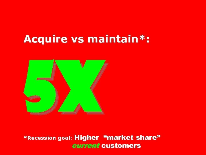 "Acquire vs maintain*: 5 X Higher ""market share"" current customers *Recession goal:"