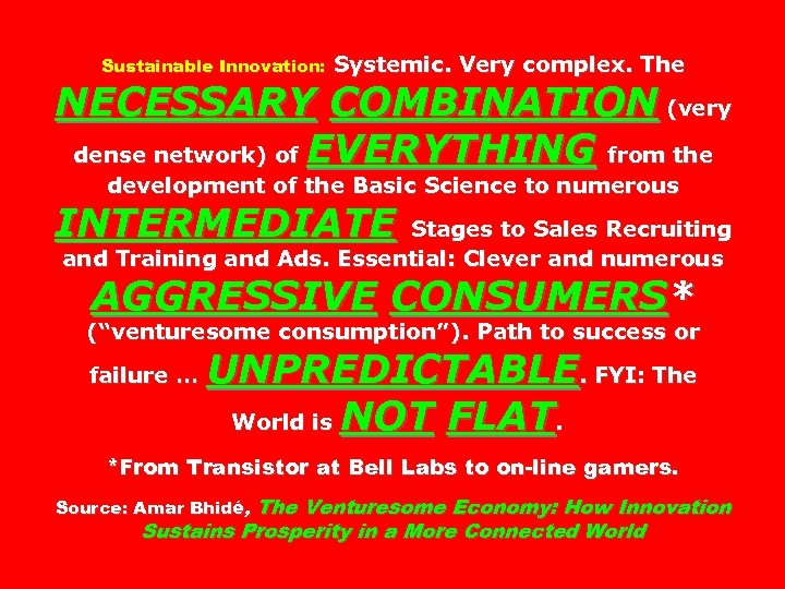 Sustainable Innovation: Systemic. Very complex. The NECESSARY COMBINATION (very dense network) of EVERYTHING from