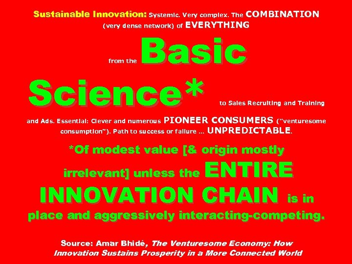 Sustainable Innovation: Systemic. Very complex. The COMBINATION (very dense network) of EVERYTHING Basic Science*