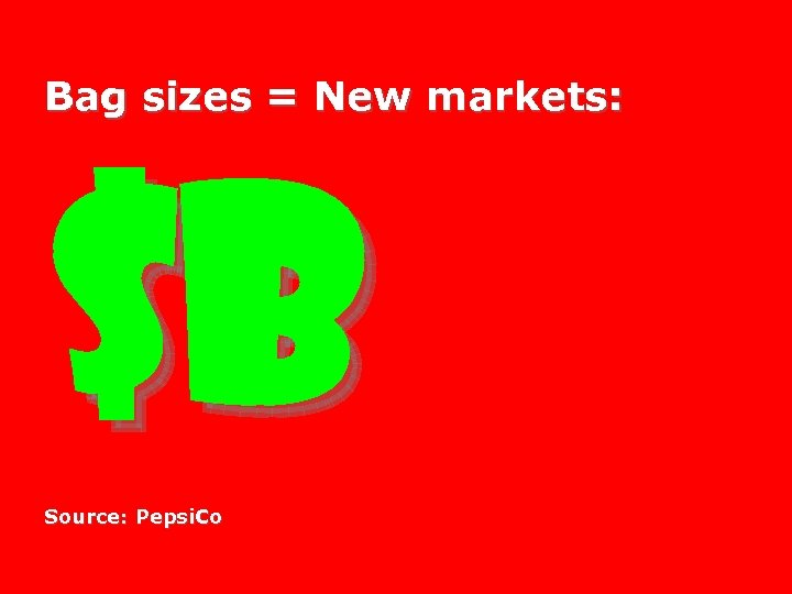 Bag sizes = New markets: $B Source: Pepsi. Co