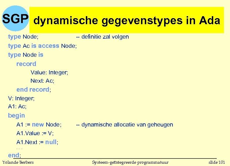 SGP dynamische gegevenstypes in Ada type Node; -- definitie zal volgen type Ac is