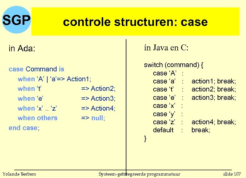 SGP controle structuren: case in Ada: in Java en C: case Command is when