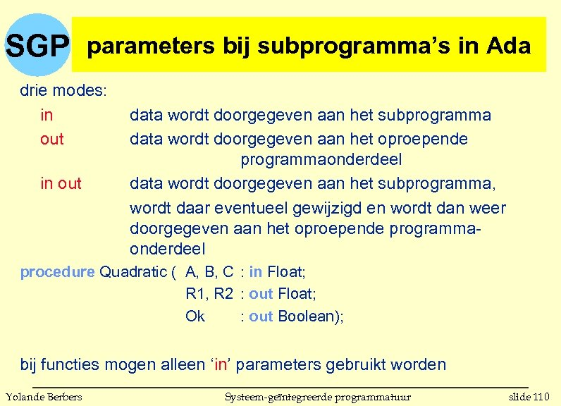 SGP parameters bij subprogrammas in parameters bij subprogramma's in Ada drie modes: in out