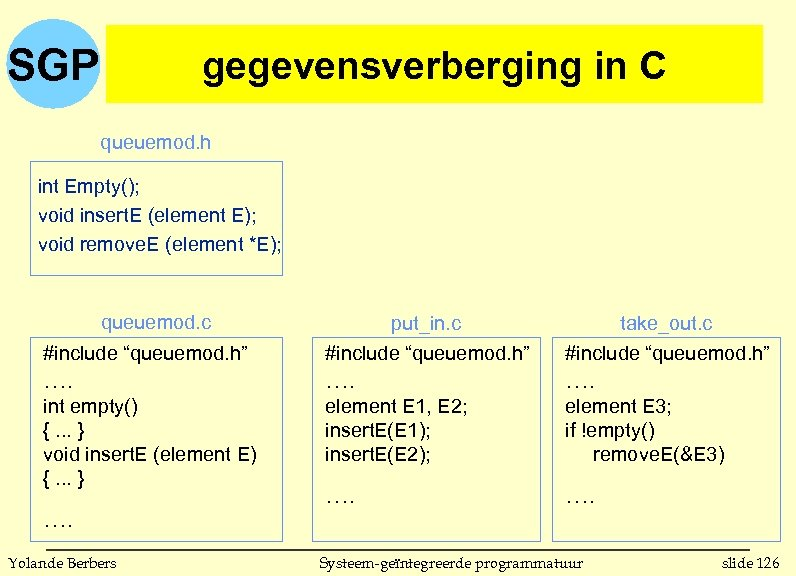 SGP gegevensverberging in C queuemod. h int Empty(); void insert. E (element E); void