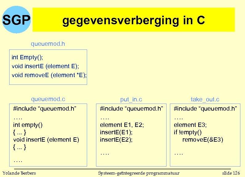 SGP gegevensverberging in C queuemod. h int Empty(); void insert. E (element E); void