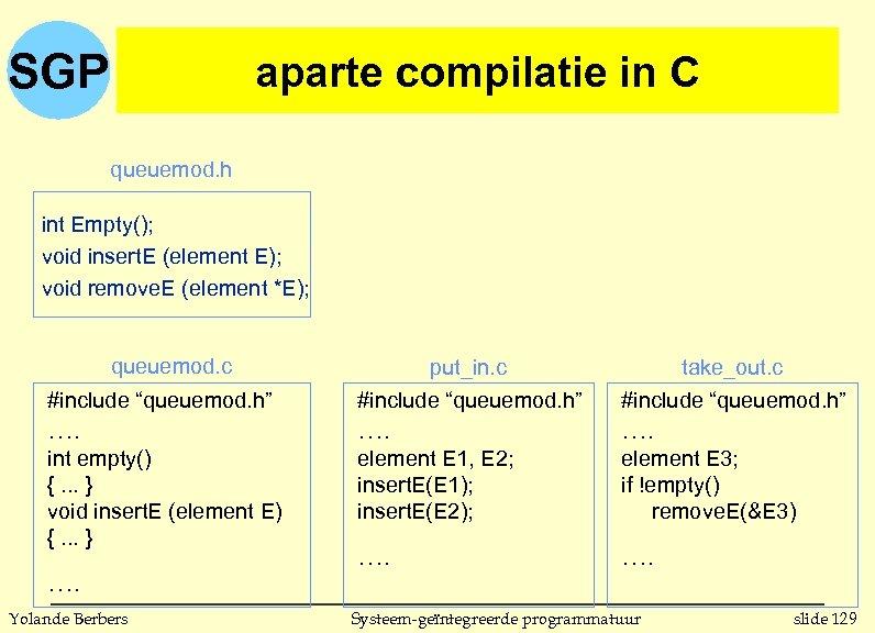 SGP aparte compilatie in C queuemod. h int Empty(); void insert. E (element E);