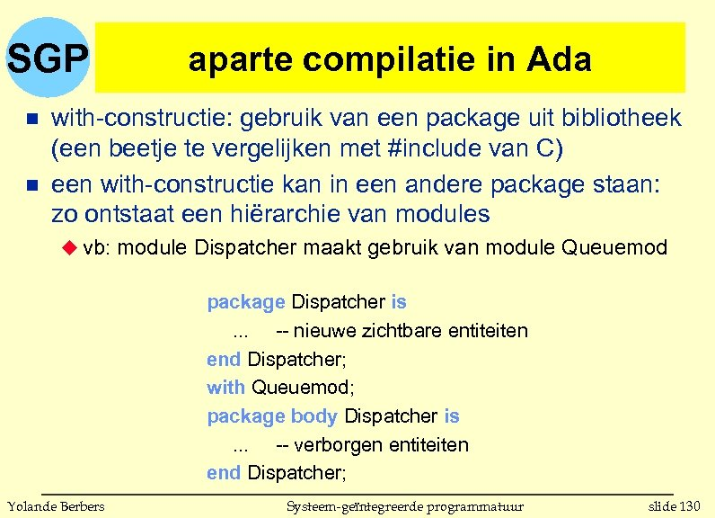 SGP n n aparte compilatie in Ada with-constructie: gebruik van een package uit bibliotheek