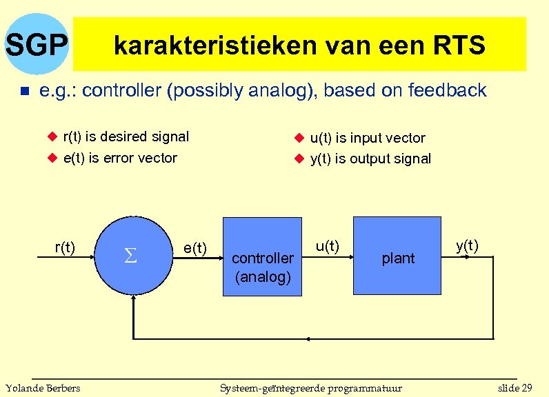 SGP n karakteristieken van een RTS e. g. : controller (possibly analog), based on