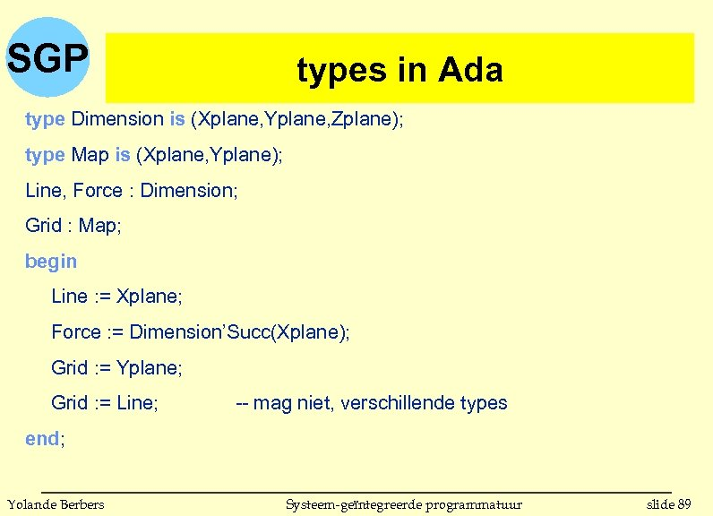 SGP types in Ada type Dimension is (Xplane, Yplane, Zplane); type Map is (Xplane,