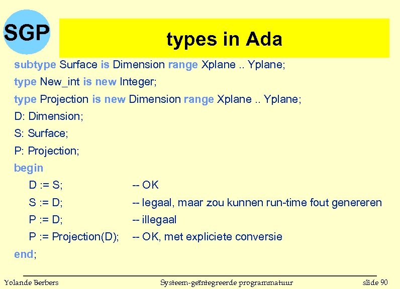 SGP types in(vervolg) in Ada subtype Surface is Dimension range Xplane. . Yplane; type