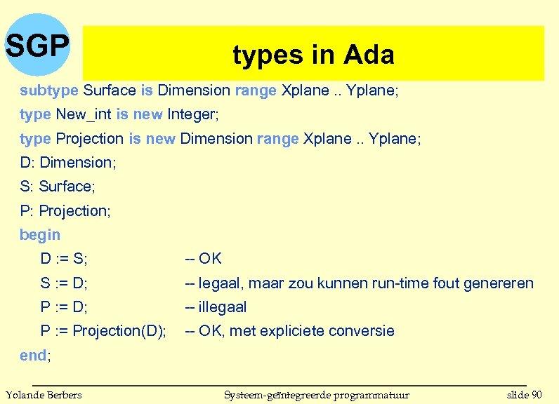 SGP types in(vervolg) in Ada subtype Surface is Dimension range Xplane. . Yplane; type