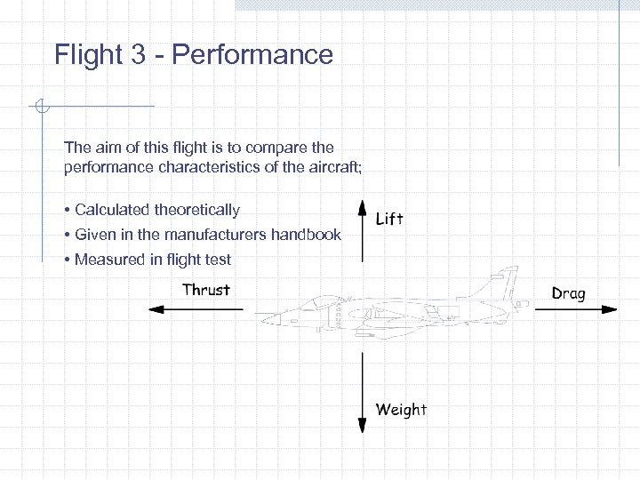 Flight 3 - Performance The aim of this flight is to compare the performance