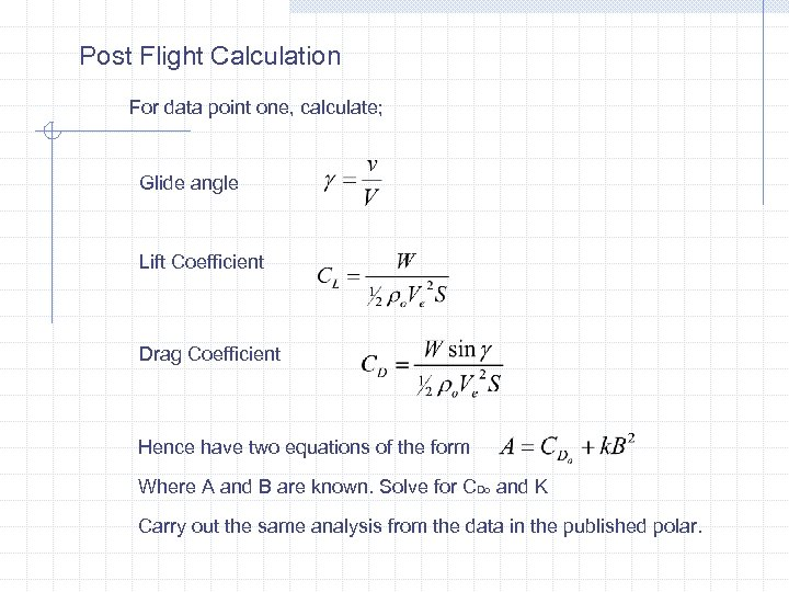 Post Flight Calculation For data point one, calculate; Glide angle Lift Coefficient Drag Coefficient