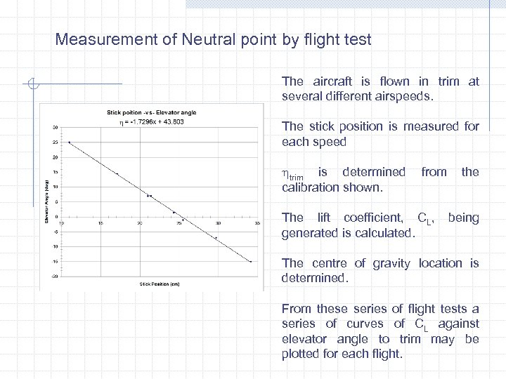 Measurement of Neutral point by flight test The aircraft is flown in trim at
