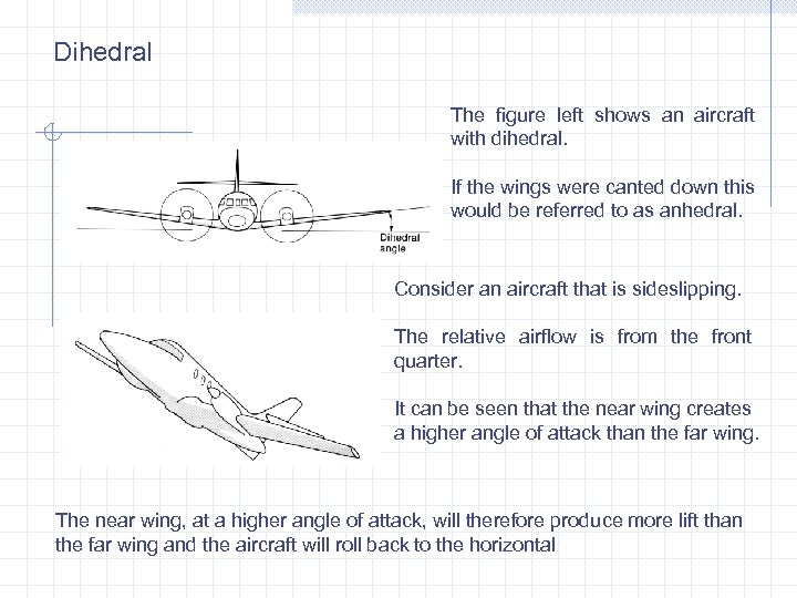 Dihedral The figure left shows an aircraft with dihedral. If the wings were canted
