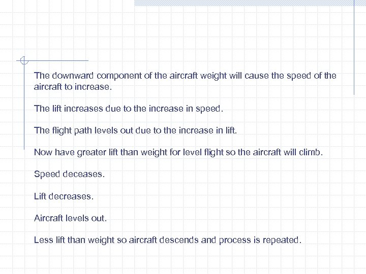 The downward component of the aircraft weight will cause the speed of the aircraft
