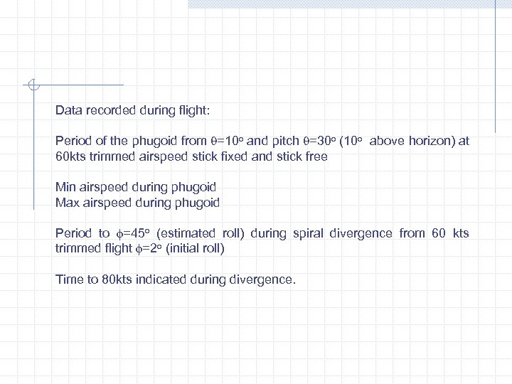 Data recorded during flight: Period of the phugoid from =10 o and pitch =30