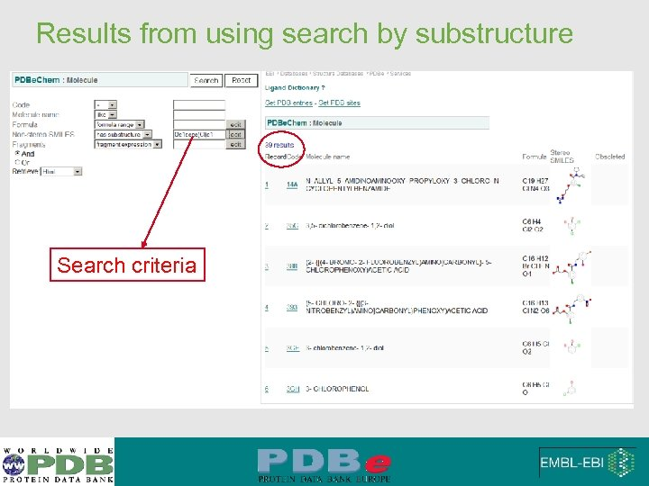 Results from using search by substructure Search criteria
